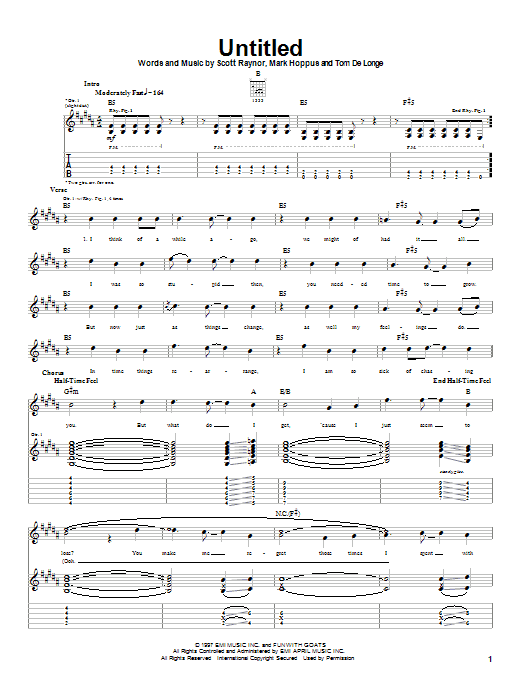 Blink-182 Untitled sheet music notes and chords. Download Printable PDF.
