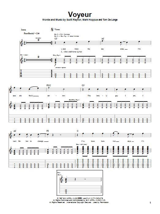 Blink-182 Voyeur sheet music notes and chords. Download Printable PDF.