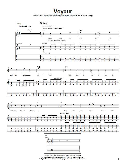 Blink-182 Voyeur sheet music notes and chords. Download Printable PDF.
