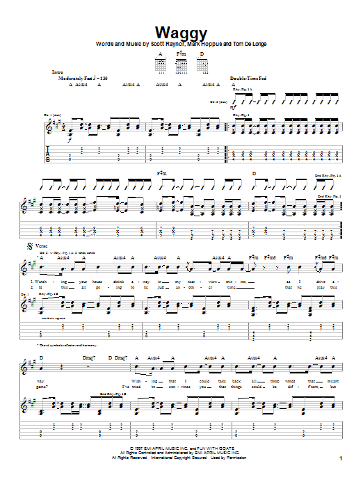 Blink-182 Waggy sheet music notes and chords