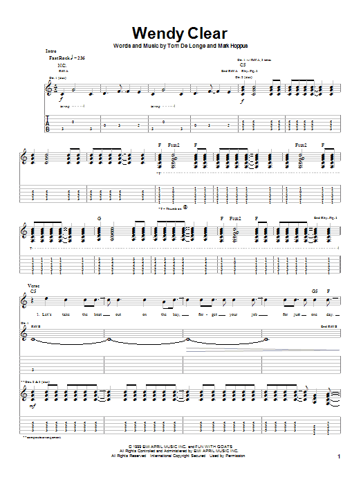 Blink-182 Wendy Clear sheet music notes and chords. Download Printable PDF.
