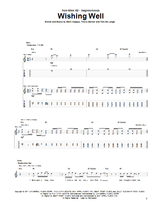 Blink-182 Wishing Well sheet music notes and chords. Download Printable PDF.
