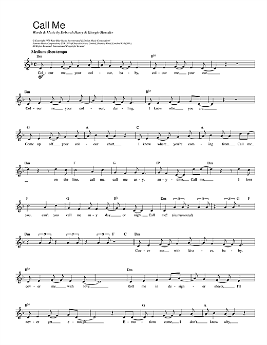 Blondie Call Me sheet music notes and chords. Download Printable PDF.