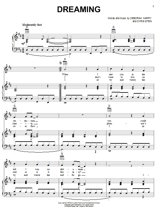 Blondie Dreaming sheet music notes and chords. Download Printable PDF.