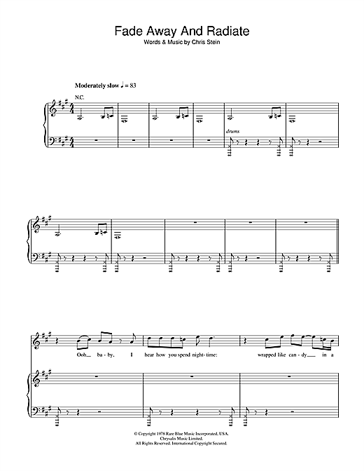 Blondie Fade Away And Radiate sheet music notes and chords