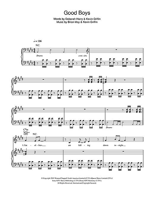Blondie Good Boys sheet music notes and chords. Download Printable PDF.