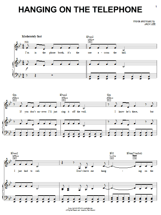 Blondie Hanging On The Telephone sheet music notes and chords. Download Printable PDF.