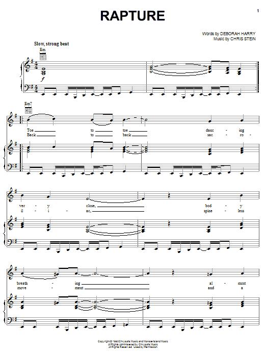 Blondie Rapture sheet music notes and chords. Download Printable PDF.