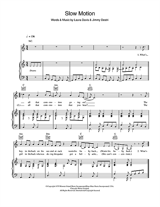 Blondie Slow Motion sheet music notes and chords. Download Printable PDF.