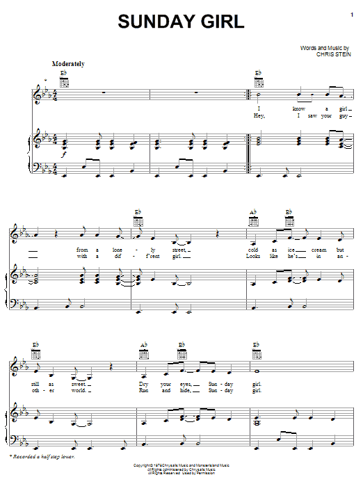 Blondie Sunday Girl sheet music notes and chords. Download Printable PDF.