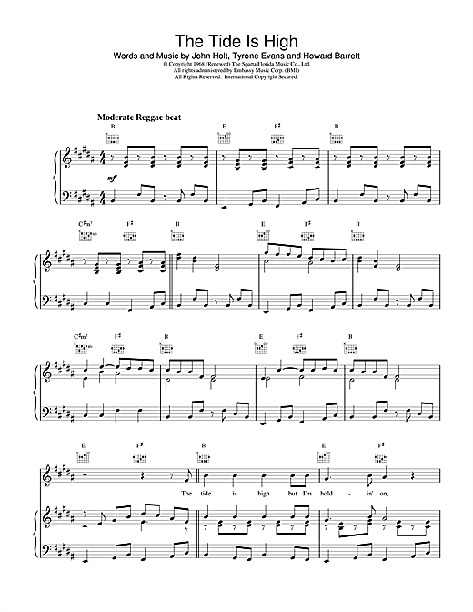 Blondie The Tide Is High sheet music notes and chords