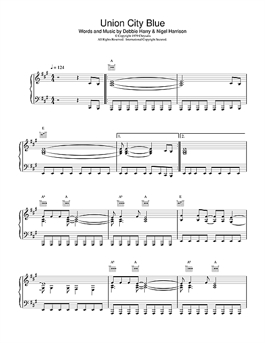 Blondie Union City Blue sheet music notes and chords. Download Printable PDF.