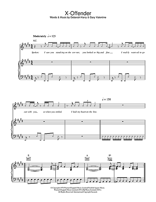 Blondie X-Offender sheet music notes and chords. Download Printable PDF.