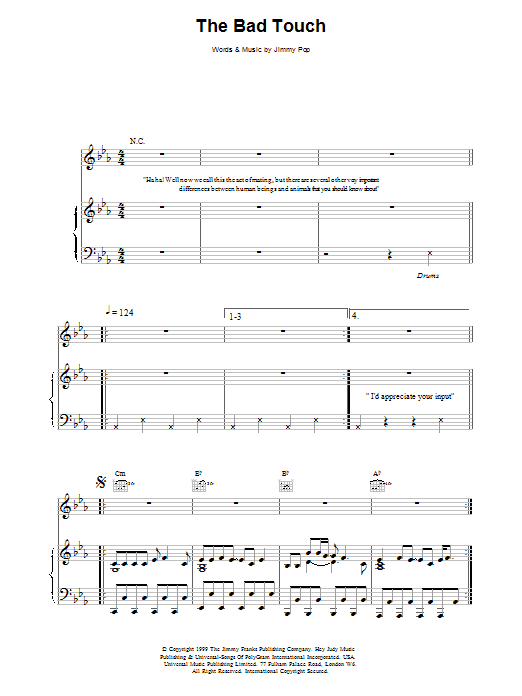 The Bloodhound Gang The Bad Touch sheet music notes and chords. Download Printable PDF.
