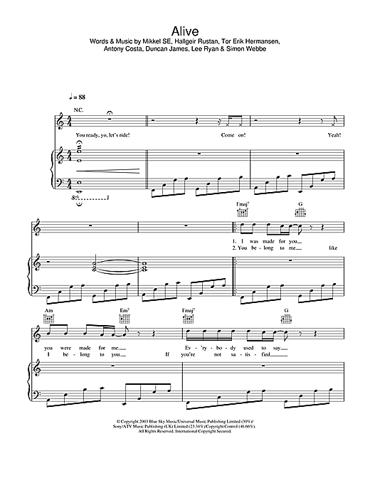 Blue Alive sheet music notes and chords. Download Printable PDF.