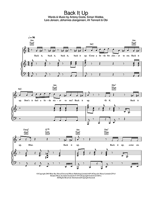 Blue Back It Up sheet music notes and chords. Download Printable PDF.
