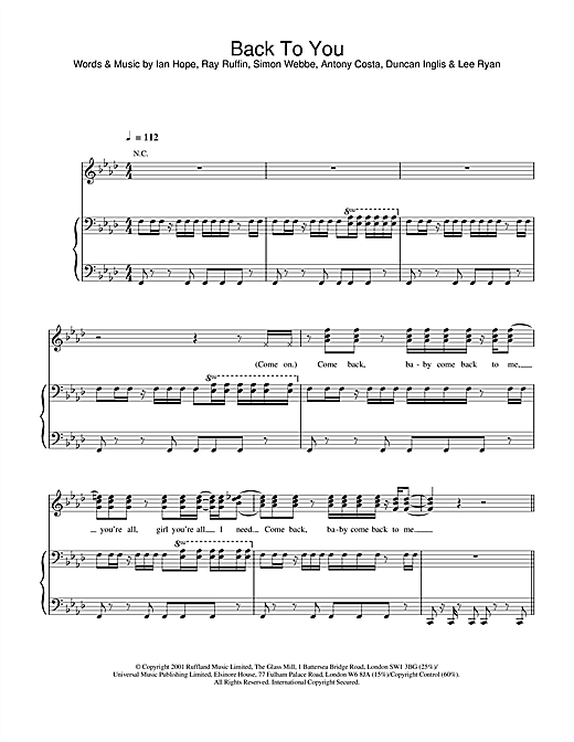 Blue Back To You sheet music notes and chords
