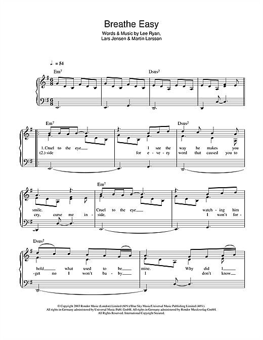 Blue Breathe Easy sheet music notes and chords. Download Printable PDF.
