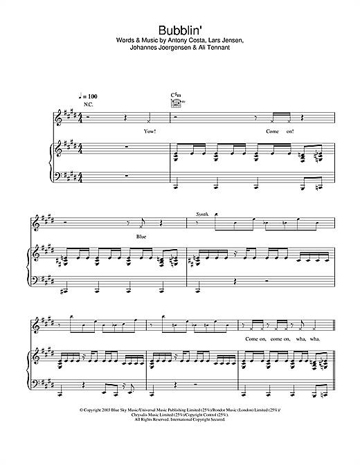 Blue Bubblin' sheet music notes and chords. Download Printable PDF.