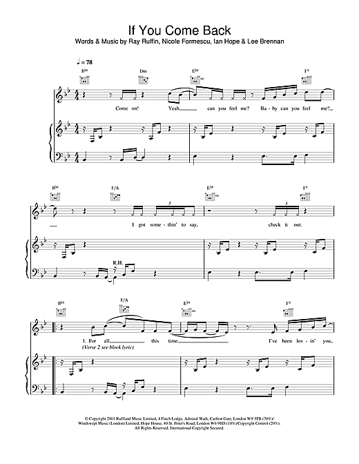 Blue If You Come Back sheet music notes and chords