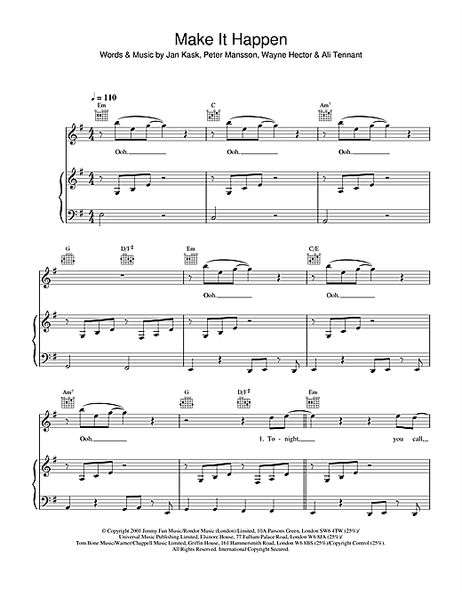 Blue Make It Happen sheet music notes and chords