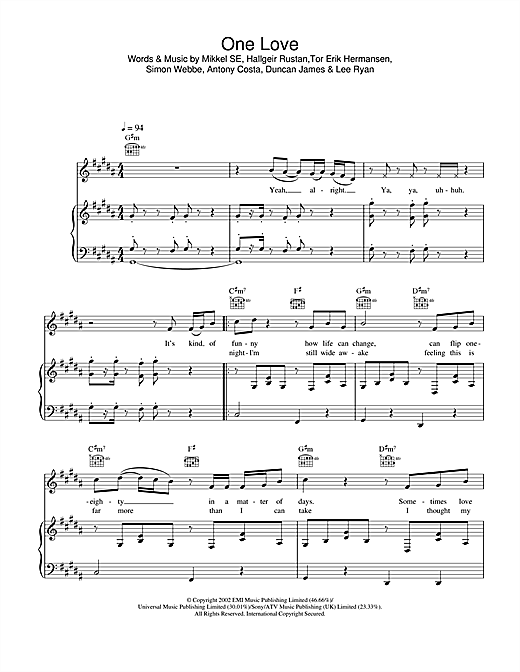 Blue One Love sheet music notes and chords. Download Printable PDF.
