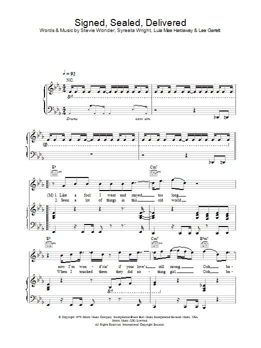 Blue Signed, Sealed, Delivered (feat. Stevie Wonder) sheet music notes and chords. Download Printable PDF.