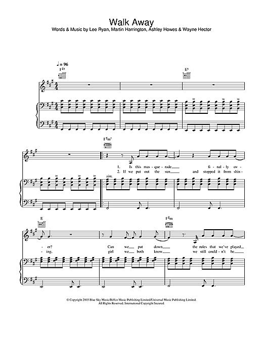 Blue Walk Away sheet music notes and chords