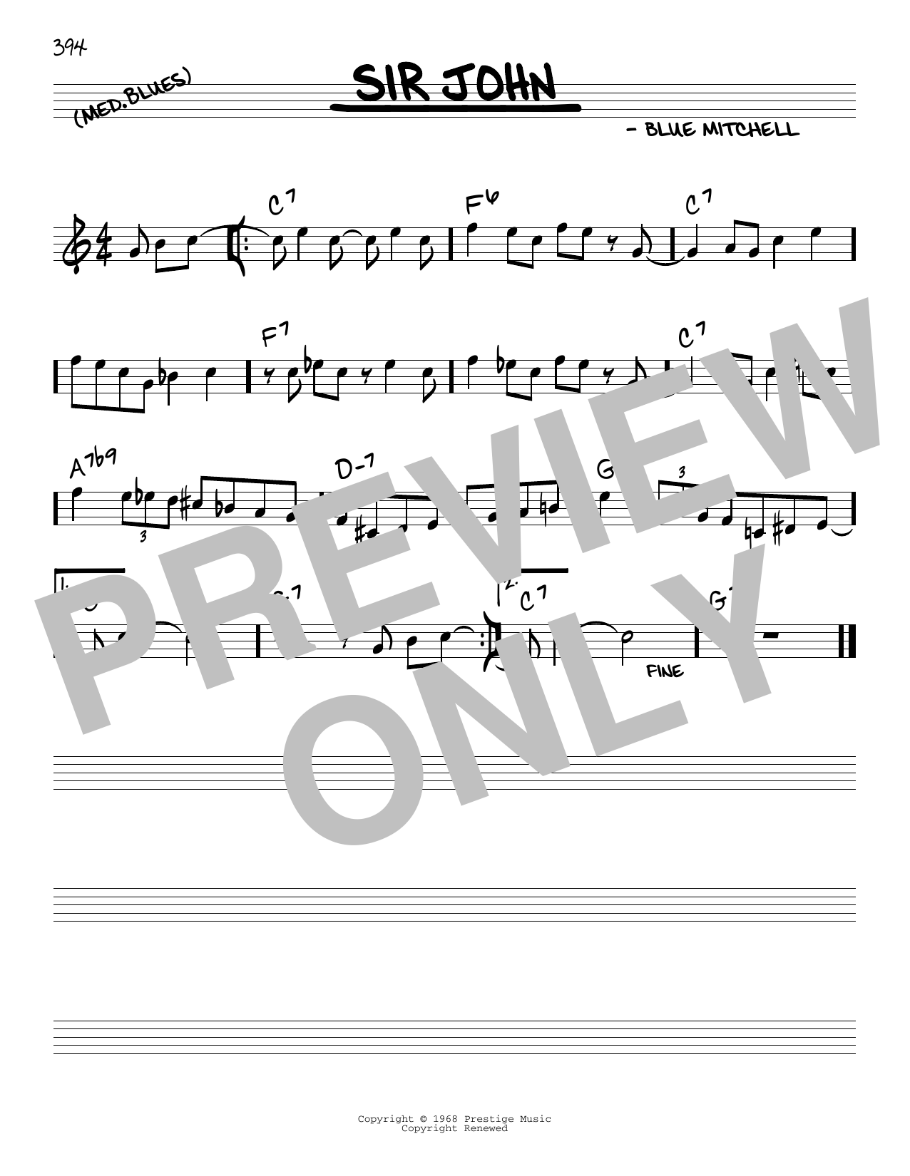 Blue Mitchell Sir John sheet music notes and chords. Download Printable PDF.