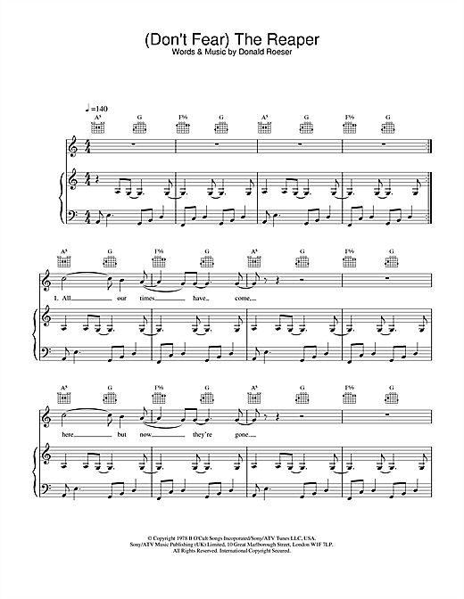 Blue Oyster Cult (Don't Fear) The Reaper sheet music notes and chords