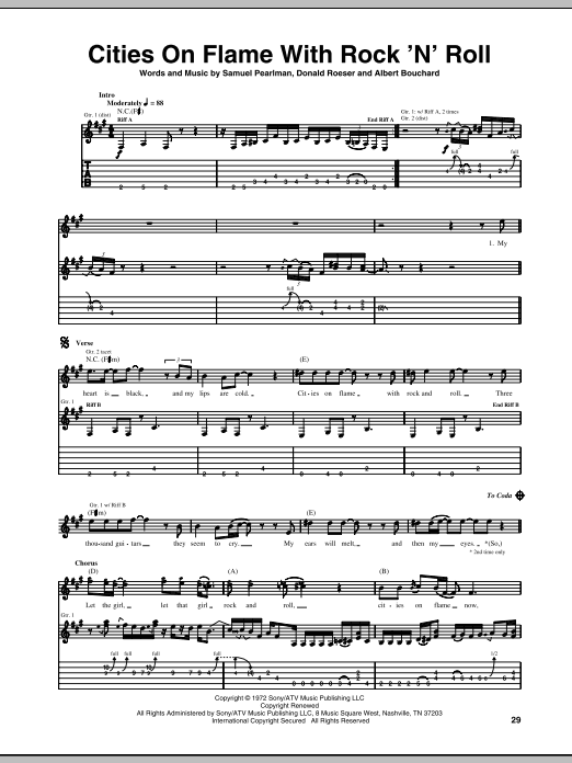 Blue Oyster Cult Cities On Flame With Rock 'N' Roll sheet music notes and chords. Download Printable PDF.
