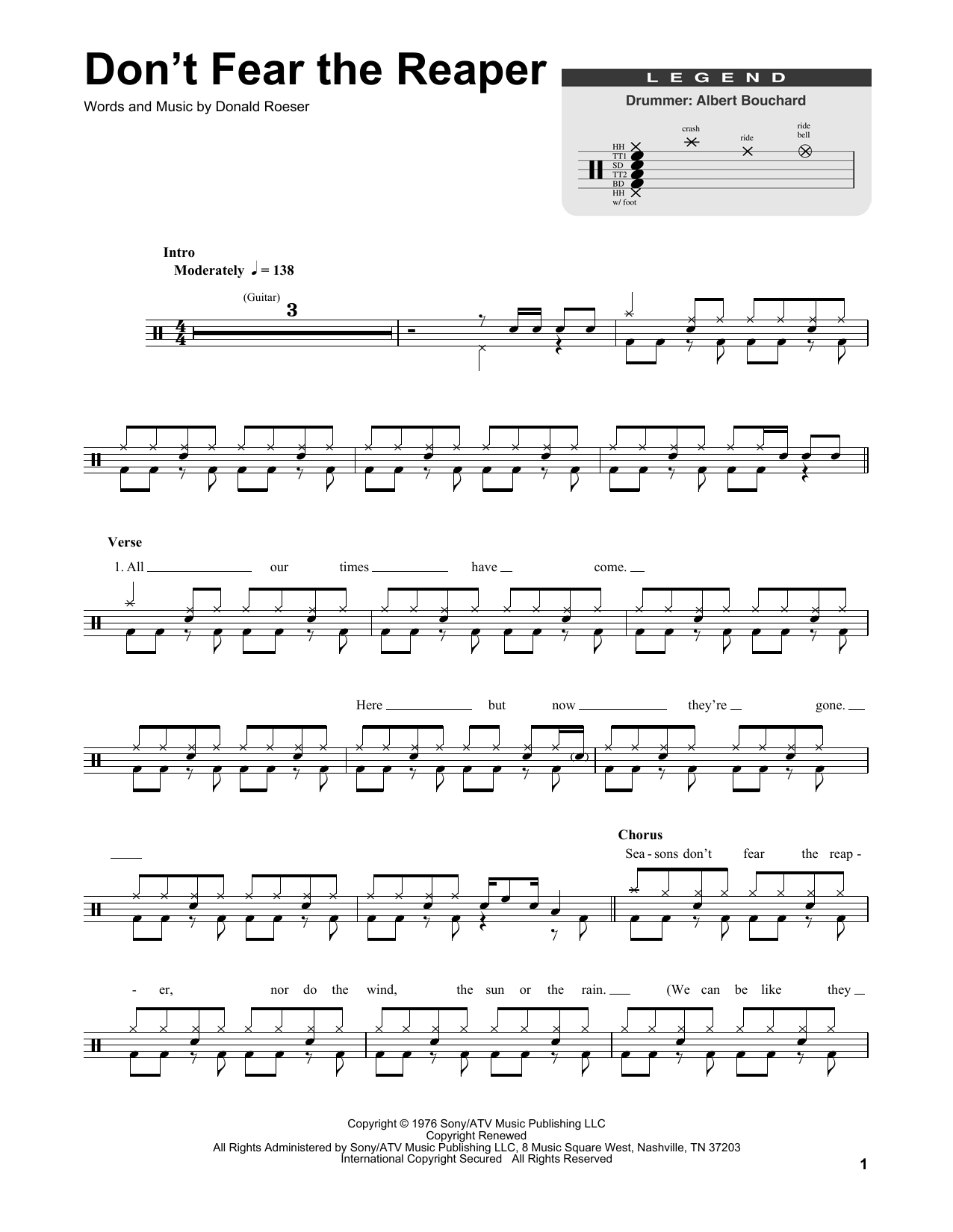 Blue Oyster Cult Don't Fear The Reaper sheet music notes and chords. Download Printable PDF.