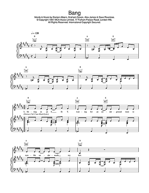 Blur Bang sheet music notes and chords