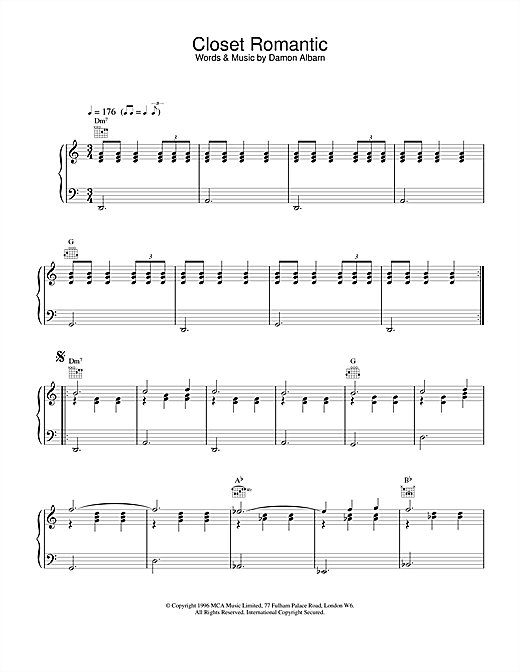 Blur Closet Romantic sheet music notes and chords. Download Printable PDF.