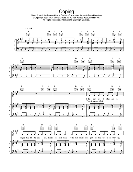 Blur Coping sheet music notes and chords