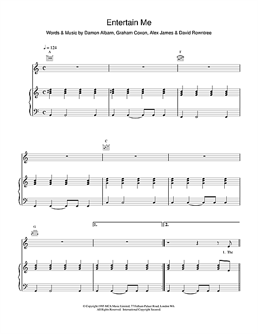 Blur Entertain Me sheet music notes and chords. Download Printable PDF.