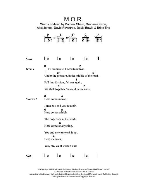 Blur M.O.R. sheet music notes and chords. Download Printable PDF.