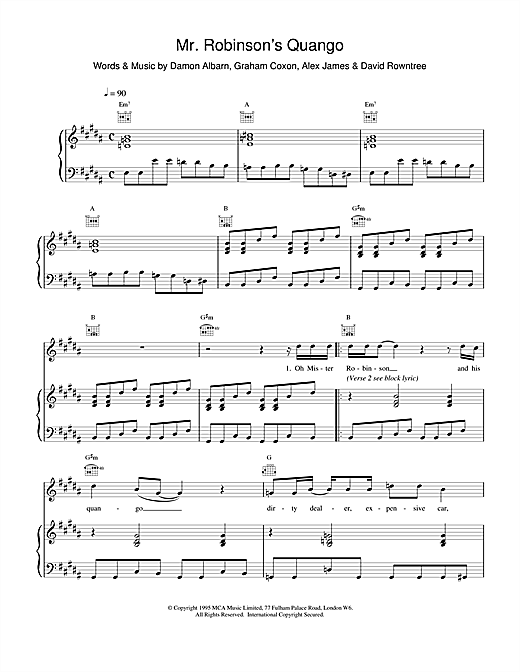 Blur Mr. Robinson's Quango sheet music notes and chords. Download Printable PDF.
