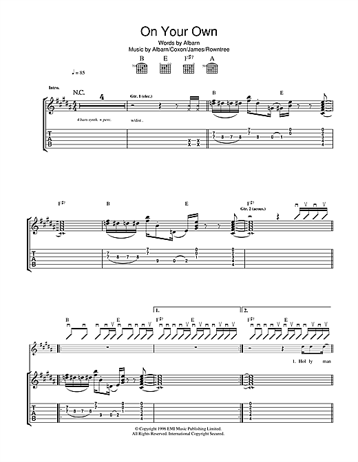 Blur On Your Own sheet music notes and chords. Download Printable PDF.