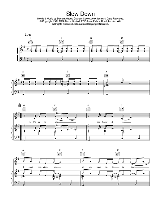 Blur Slow Down sheet music notes and chords
