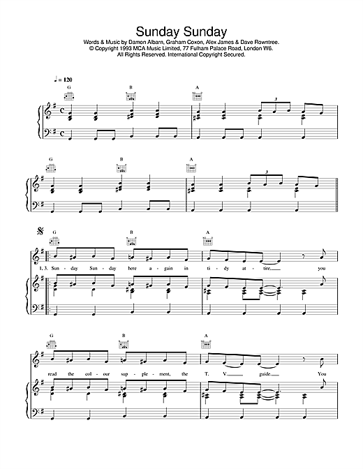 Blur Sunday Sunday sheet music notes and chords