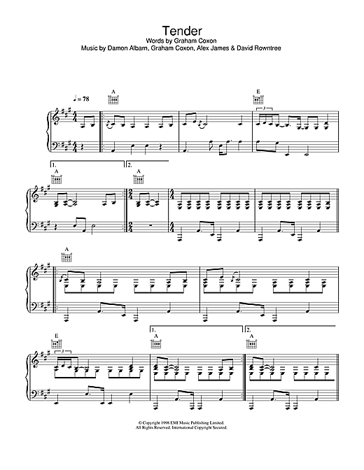 Blur Tender sheet music notes and chords. Download Printable PDF.