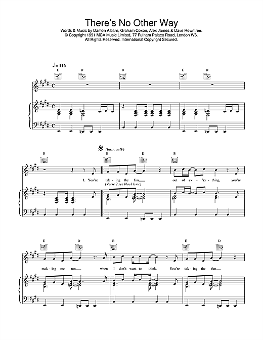 Blur There's No Other Way sheet music notes and chords