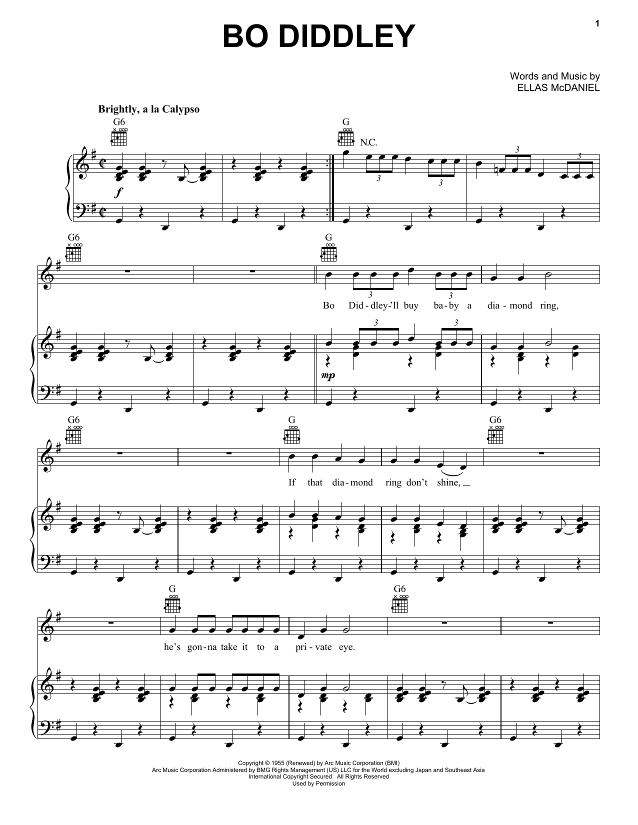 Bo Diddley Bo Diddley sheet music notes and chords. Download Printable PDF.