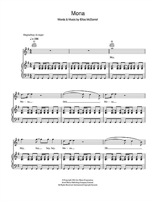 Bo Diddley Mona sheet music notes and chords. Download Printable PDF.