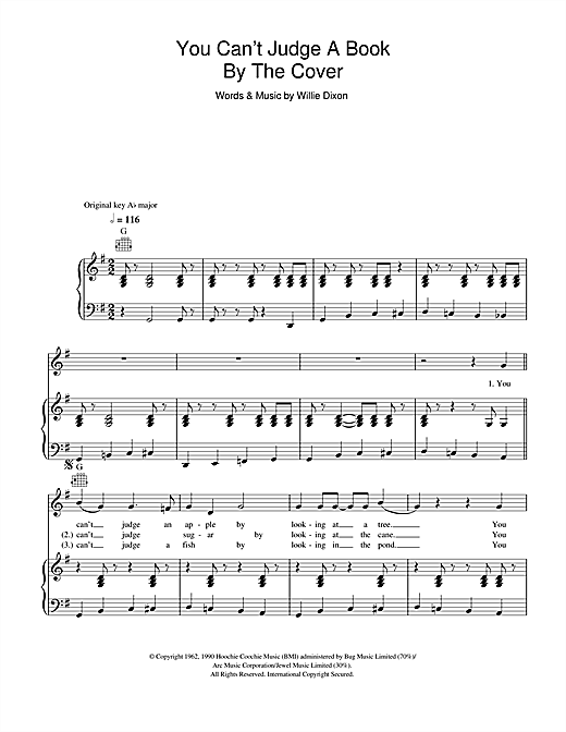 Bo Diddley You Can't Judge A Book By The Cover sheet music notes and chords. Download Printable PDF.