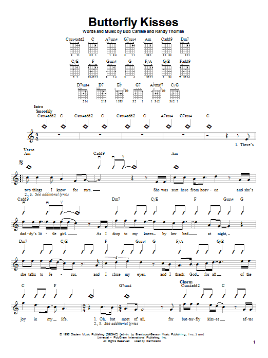 Bob Carlisle Butterfly Kisses sheet music notes and chords. Download Printable PDF.