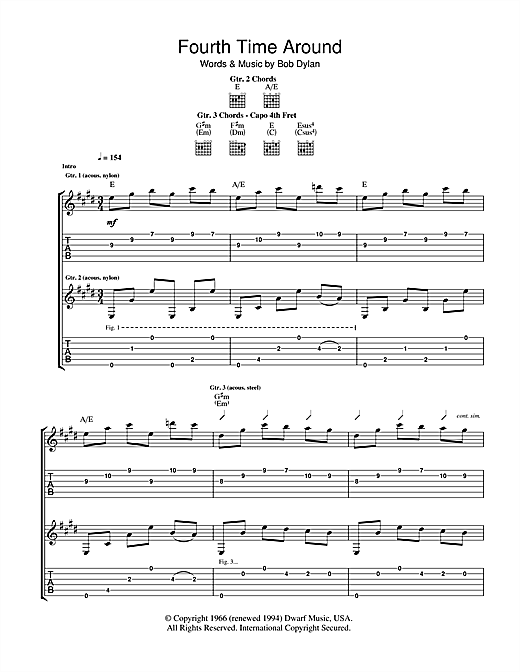 Bob Dylan 4th Time Around sheet music notes and chords. Download Printable PDF.