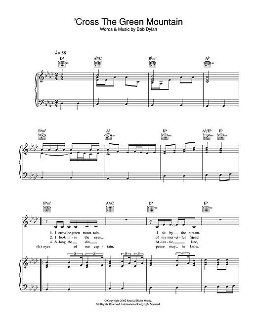 Bob Dylan 'Cross Green Mountain sheet music notes and chords