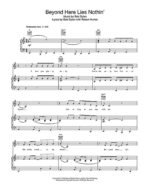 Bob Dylan Beyond Here Lies Nothin' sheet music notes and chords. Download Printable PDF.